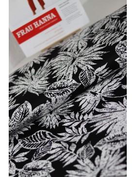 DIY Paket Baumwolle Elasthan Monstera Blätter schwarz weiß Hose...