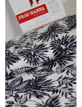 DIY Paket Baumwolle Elasthan Monstera Blätter weiß schwarz Hose...