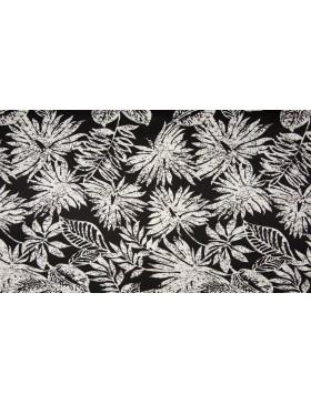Baumwoll Popeline Stretch schwarz weiß Monstera Blätter Hosenstoff