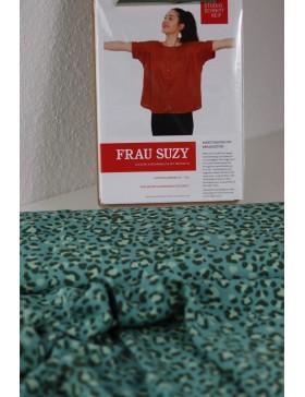 DIY Paket Bluse Frau Suzy Schnittreif Viskose Leo mint grün