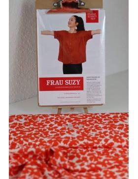 DIY Paket Bluse Frau Suzy Schnittreif Blumen orange weiß