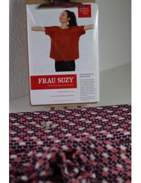 DIY Paket Bluse Frau Suzy Schnittreif Schmetterlinge lila rosa  bunt