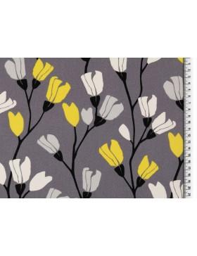 Deko Canvas Blumen skandinavisch grau hellgrau gelb