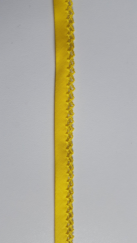 1m Schrägband Einfassborte gelb Häkelrand 14 mm