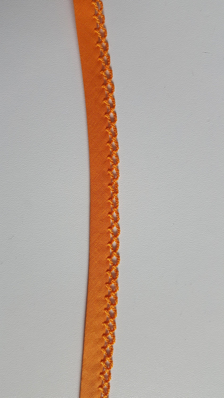 1m Schrägband Einfassborte orange Häkelrand 14 mm