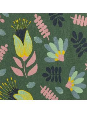 Sweat Lucy by Jolijou Blätter Blüten auf oliv khaki grün Swafing