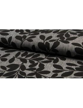 Leinen Baumwoll Blätter Muster grau schwarz Stoff Leinenstoff