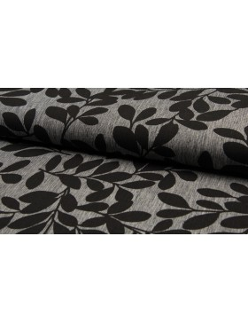 Leinen Baumwoll Blüten Blätter grau schwarz Stoff Leinenstoff