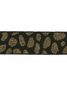 1m Gummiband Leo Muster schwarz gold 25mm breit Gummi