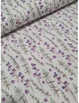 Musselin Lavendel Blüten Zweige weiß lila Double Gauze