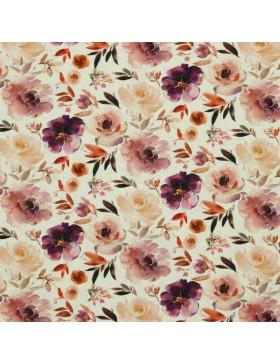 Leinen Baumwoll Jersey Blumen Print Rosen aquarell natur bunt
