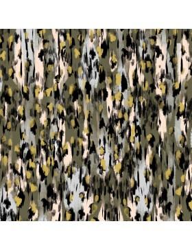 Viskose Jersey Muster Animal Print khaki oliv