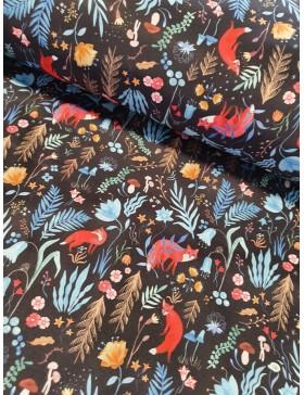 Softshell schwarz blau bunt Fuchs Füchse Wald Katia Soft Shell