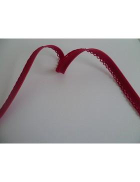 1 m Schrägband Einfassborte pink Häkelrand 14 mm
