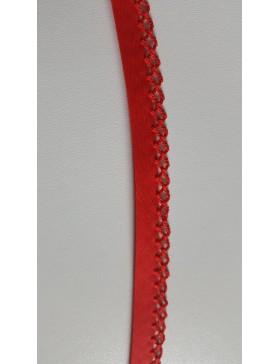 1m Schrägband Einfassborte rot Häkelrand 14 mm