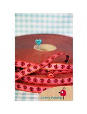 1m Webband Ladybird Candy Marienkäfer rot rosa