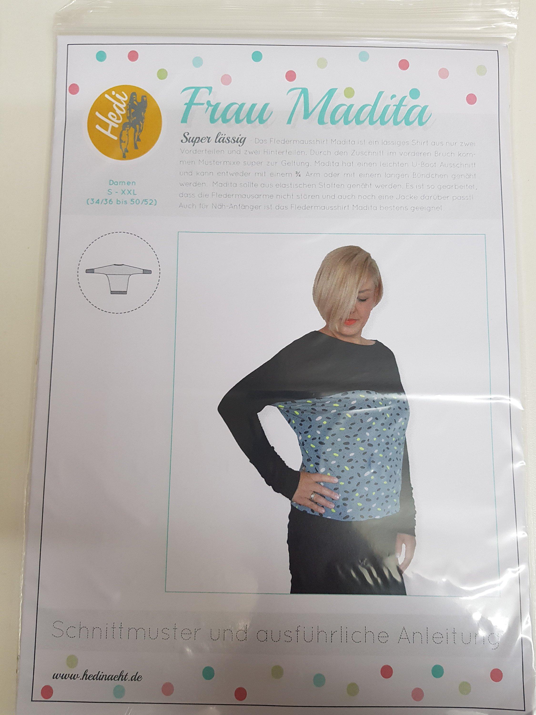 Schnittmuster Frau Madita Hedi Näht Shirt Feldermausshirt Damen