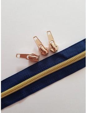 1m Reißverschluss 5mm blau gold 3 Zipper