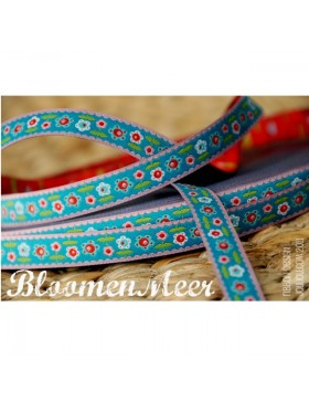 1m Webband Bloomenmeer Farbenmix türkis blau rosa bunt