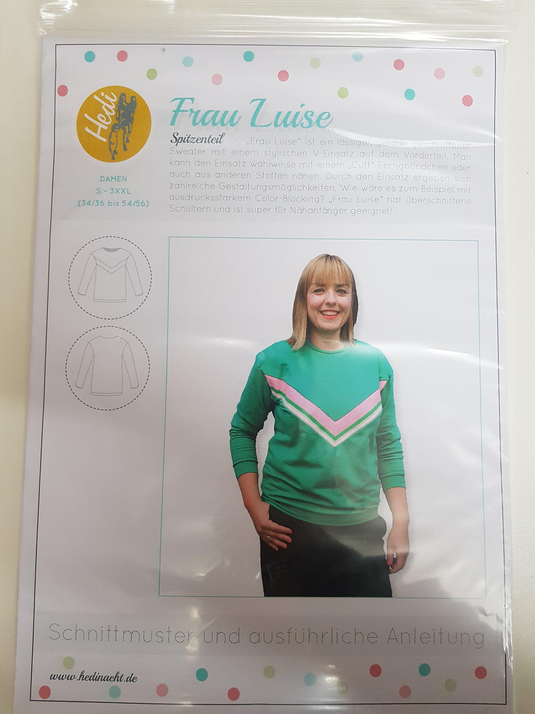 Schnittmuster Frau Luise Hedi Näht Sweater Sweatshirt mit V Einsatz...