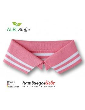 Polokragen Kragen Gr. L 43 cm Polo me rosa weiß gestreift geringelt...