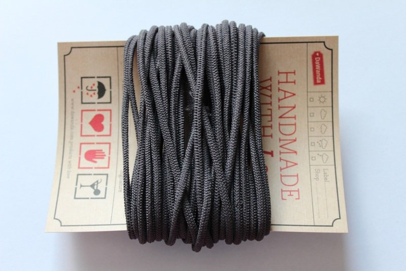 Gummikordel 3mm Gummiband grau dunkelgrau