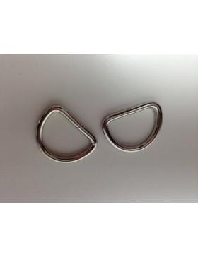 2 Stück D-Ringe 25 mm silber