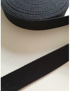 1 Meter Gurtband schwarz 25 mm breit Baumwolle