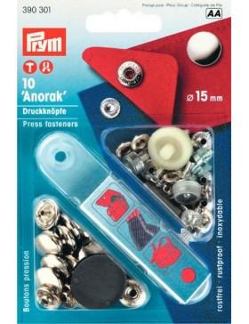 Prym Anorak Druckknöpfe Metall silber 15 mm