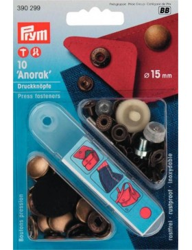 Prym Anorak Druckknöpfe Metall messing altmessing 15 mm