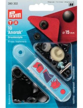 Prym Anorak Druckknöpfe Metall schwarz brüniert 15 mm