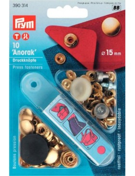 Prym Anorak Druckknöpfe Metall gold 15 mm