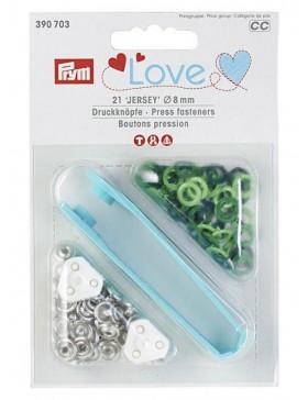Prym Love Jersey Druckknöpfe 8mm hellgrün grün apfelgrün dunkelgrün