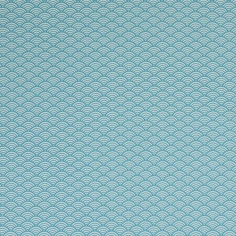 Beschichtete Baumwolle Muscheln Wellen Muster petrol
